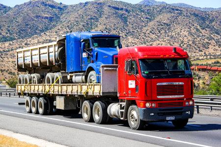 freightliner: ATACAMA, CHILE - NOVEMBER 19, 2015: Semi-trailer truck Freightliner Argosy at the Pan-American Highway.