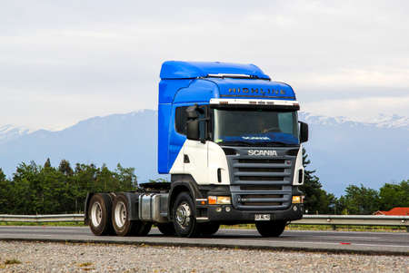 r: OHIGGINS, CHILE - NOVEMBER 19, 2015: Semi-trailer truck Scania R420 at the Pan-American Highway.