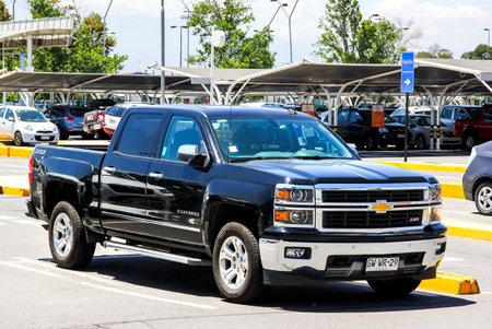 SANTIAGO, CHILE - NOVEMBER 24, 2015: Pickup truck Chevrolet Silverado at the city street. Editorial