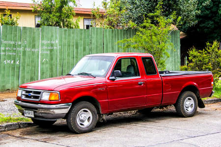 pickup truck: PUCON, CHILE - NOVEMBER 20, 2015: Motor car Ford Ranger at the town street.
