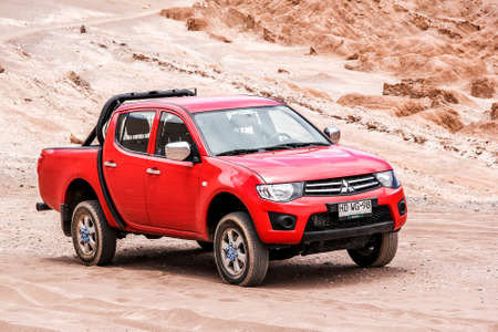 ANTOFAGASTA, CHILE - NOVEMBER 15, 2015: Motor car Mitsubishi L200 at the countryside. Editorial