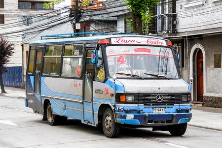 minibus: TEMUCO, CHILE - NOVEMBER 22, 2015: Passenger minibus Inrecar at the city street.