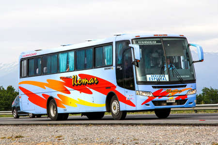 buss: OHIGGINS, CHILE - NOVEMBER 19, 2015: Intercity coach Busscar El Buss 340 at the Pan-American Highway.