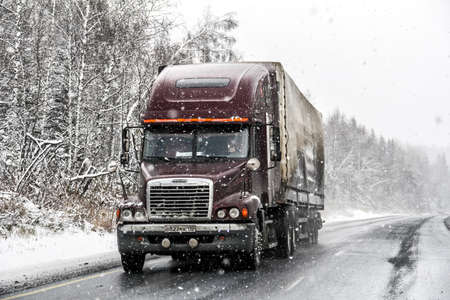 semi trailer: CHELYABINSK REGION, RUSSIA - OCTOBER 11, 2015: Semi-trailer truck Freightliner Century Class at the interurban freeway during a heavy snowfall.