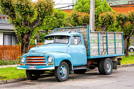 utilitarian: PUCON, CHILE - NOVEMBER 20, 2015: Old truck Opel Blitz at the village street.
