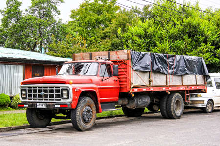 hand truck: PUCON, CHILE - NOVEMBER 20, 2015: Old truck Ford F-series at the village street.