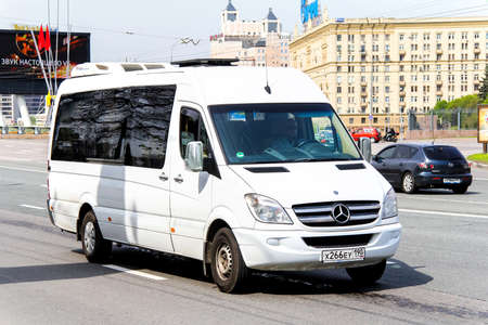 micro drive: MOSCOW, RUSSIA - MAY 6, 2012: Luxury van Mercedes-Benz Sprinter in the city street.