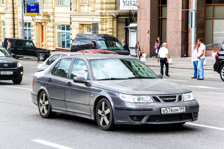 95: MOSCOW, RUSSIA - JUNE 2, 2013: Motor car Saab 9-5 at the city street. Editorial