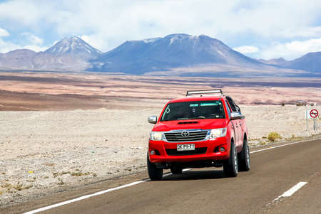 ANTOFAGASTA, CHILE - NOVEMBER 15, 2015: Pickup truck Toyota Hilux at the interurban freeway.