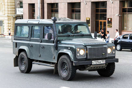 MOSCOW, RUSSIA - JUNE 2, 2013: Motor car Land Rover Defender at the city street.