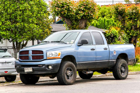 PUCON, CHILE - NOVEMBER 20, 2015: Pickup truck Dodge Ram in the town street.