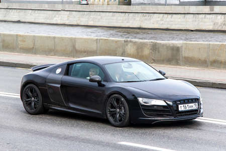 MOSCOW, RUSSIA - JUNE 2, 2013: Motor car Audi R8 at the city street.