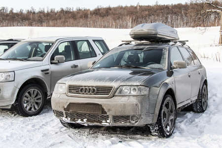 wagon: ASHA, RUSSIA - DECEMBER 31, 2011: Motor car Audi A6 Allroad at the snow covered countryside. Editorial