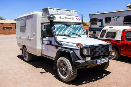 campervan: SAN PEDRO DE ATACAMA, CHILE - NOVEMBER 17, 2015: German campervan Mercedes-Benz W461 G-class in the town street.