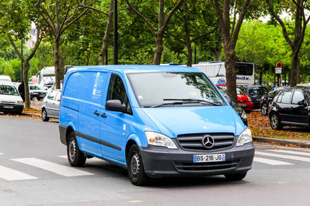 panel van: PARIS, FRANCE - AUGUST 8, 2014: Motor car Mercedes-Benz W639 Vito at the city street.