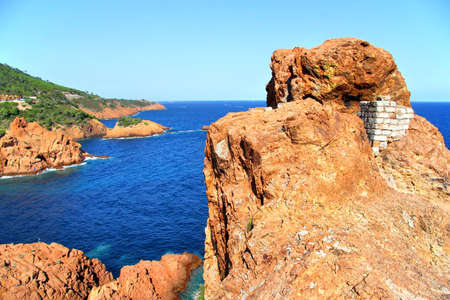 massif: Red cliffs of the Esterel Massif in in Provence, France