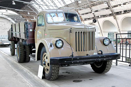 utilitarian: MOSCOW, RUSSIA - AUGUST 19, 2014: Soviet retro truck UralZiS 355M exhibited at the retro motor show in VDNKh.