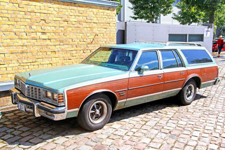 station wagon: BERLIN, GERMANY - AUGUST 12, 2014: American full-size station wagon Pontiac Grand Safari in the museum of vintage cars Classic Remise. Editorial
