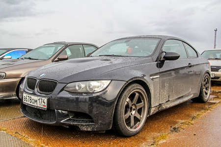 outside machines: NADYM, RUSSIA - AUGUST 29, 2015: Motor car BMW E92 M3 at the city street.