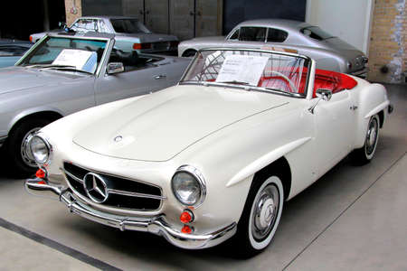 BERLIN, GERMANY - AUGUST 12, 2014: German classic vehicle Mercedes-Benz 190SL in the museum of vintage cars Classic Remise.