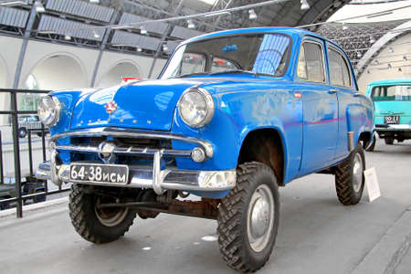 utilitarian: MOSCOW, RUSSIA - AUGUST 19, 2014: Soviet four wheel drive car Moskvitch 410 exhibited at the retro motor show in VDNKh.