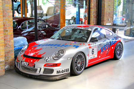 supercharged: BERLIN, GERMANY - AUGUST 12, 2014: German sportscar Porsche 997 911 GT3 in the museum of vintage cars Classic Remise. Editorial