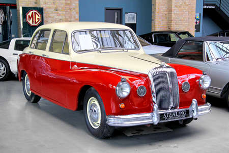 daimler: BERLIN, GERMANY - AUGUST 12, 2014: British retro car Daimler Majestic Major in the museum of vintage cars Classic Remise. Editorial