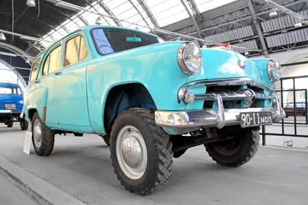 utilitarian: MOSCOW, RUSSIA - AUGUST 19, 2014: Soviet four wheel drive car Moskvitch 411 exhibited at the retro motor show in VDNKh.
