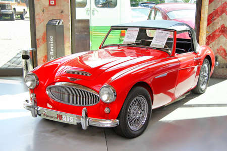 mk: BERLIN, GERMANY - AUGUST 12, 2014: Classic british sports car Austin-Healey 3000 Mk II in the museum of vintage cars Classic Remise.