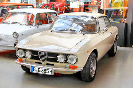 romeo: BERLIN, GERMANY - AUGUST 12, 2014: Classic italian sports car Alfa Romeo 1750 GT Veloce in the museum of vintage cars Classic Remise.