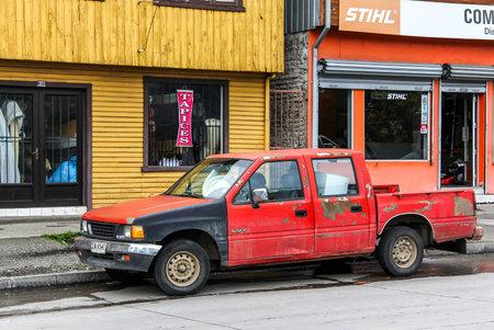 utilitarian: VILLARRICA, CHILE - NOVEMBER 20, 2015: Pickup truck Chevrolet LUV in the city street.