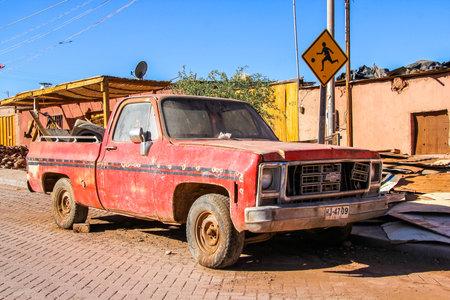 SAN PEDRO DE ATACAMA, CHILE - NOVEMBER 15, 2015: Pickup truck Chevrolet Silverado in the town street. Editorial