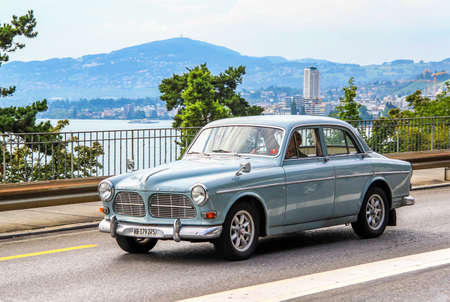 MONTREUX, SWITZERLAND - AUGUST 6, 2014: Motor car Volvo Amazon in the city street.