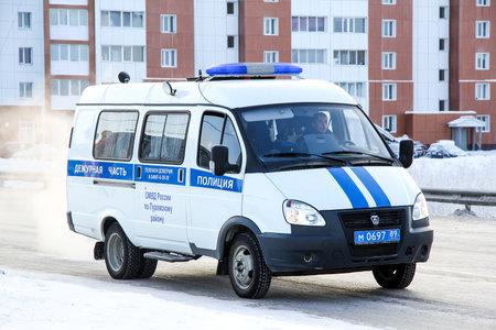 gazelle: NOVYY URENGOY, RUSSIA - NOVEMBER 4, 2013: Police van GAZ Gazelle in the city street.