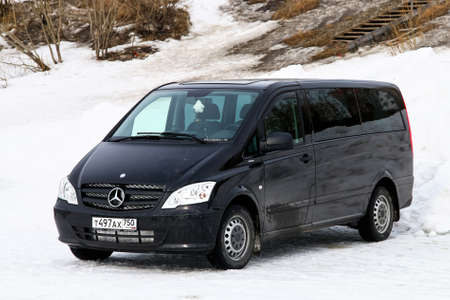 NOVYY URENGOY, RUSSIA - APRIL 10, 2016: Black luxury van Mercedes-Benz W639 Vito at the countryside.