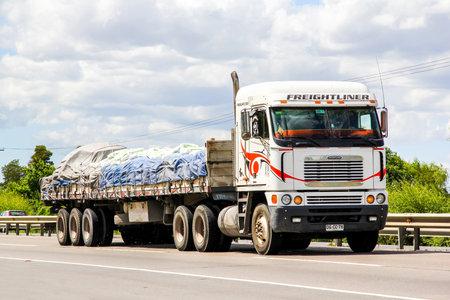 freightliner: BIO-BIO, CHILE - NOVEMBER 23, 2015: Cargo truck Freightliner Argosy at the interurban freeway. Editorial
