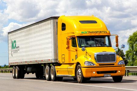 freightliner: BIO-BIO, CHILE - NOVEMBER 23, 2015: Cargo truck Freightliner Columbia at the interurban freeway.