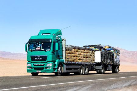 flatbed truck: ATACAMA, CHILE - NOVEMBER 14, 2015: Modern truck MAN TGS at the interurban freeway through the Atacama desert.