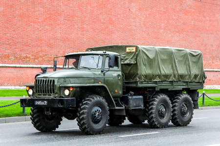 MOSCOW, RUSSIA - MAY 6, 2012: Russian military truck URAL 4320 in the city street. Redakční