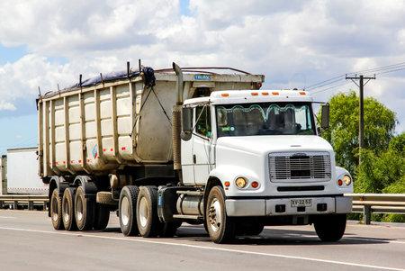 freightliner: BIO-BIO, CHILE - NOVEMBER 23, 2015: Cargo truck Freightliner FL112 at the interurban freeway.
