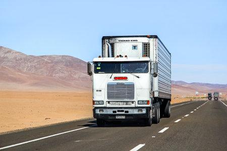 freightliner: ATACAMA, CHILE - NOVEMBER 14, 2015: Semi-trailer truck Freightliner FLB at the interurban freeway. Editorial