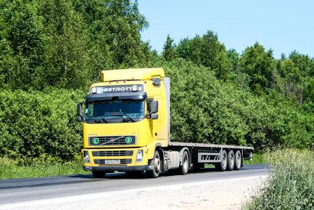 flatbed truck: CHELYABINSK REGION, RUSSIA - JUNE 22, 2008: Semi-trailer truck Volvo FH12 at the interurban freeway.