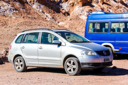 silver fox: ANTOFAGASTA, CHILE - NOVEMBER 17, 2015: Motor car Volkswagen Suran at the countryside.