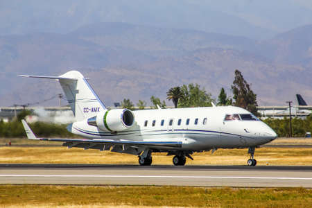 challenger: SANTIAGO, CHILE - NOVEMBER 24, 2015: Canadair Challenger 605 landed to the Arturo Merino Benitez International Airport. Editorial