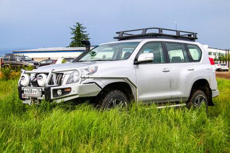 NOVYY URENGOY, RUSSIA - JUNE 25, 2016: Motor car Toyota Land Cruiser Prado 150 at the countryside.