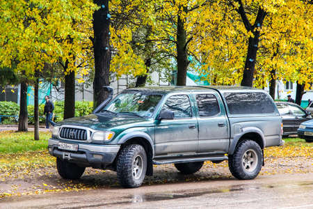 UFA, RUSSIA - OCTOBER 2, 2011: Pickup truck Toyota Tacoma in the city street.