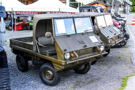 utilitarian: VALAIS, SWITZERLAND - AUGUST 5, 2014: Utilitarian trucks Haflinger 4x4 in the Alpine village. Editorial