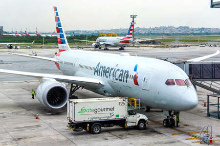 american airlines: SAO PAULO, BRAZIL - NOVEMBER 25, 2015: American Airlines Boeing 787-8 Dreamliner in the Guarulhos International Airport.