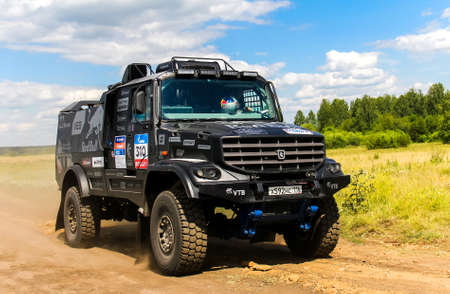 eduard: CHELYABINSK REGION, RUSSIA - JULY 11, 2016: Sports truck KAMAZ 43509 of the Team KAMAZ Master No. 310 competes in the annual Rally Silkway - Dakar Series.