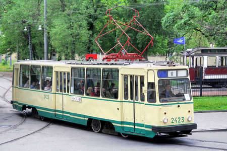 tramcar: SAINT PETERSBURG, RUSSIA - MAY 26: Vintage russian tramway LM-68M takes part at the Retro Urban Transport Parade on May 26, 2013 in Saint Petersburg, Russia.